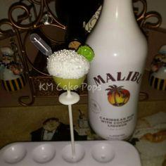 Alcohol infused margarita cake pop with Malibu rum shot