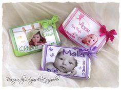 Gastgeschenke Schokoladen Milka Mini zur Taufe bei www.anjaskartenzauber.net