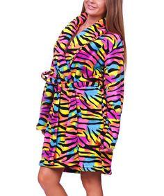 Another great find on #zulily! Rainbow Zebra Plush Robe - Women by Totally Pink #zulilyfinds