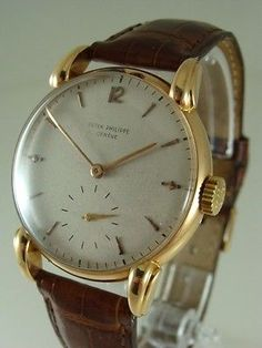 Rare Patek Philippe 18K Rose Gold Fancy Lugs REF : 1590 Vintage Watch