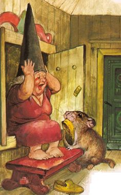 A gnome and her pet mouse. (Artist: Rien Poortvliet.)