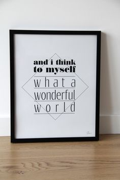 Typo Poster Louis Armstrong / typo artprint, armstrong, wonderful world by gumberry via DaWanda.com
