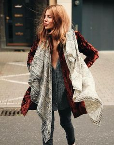 fb307c9a9e52 Suede burnt-red coat looks awesome worn with jacquard print shawl