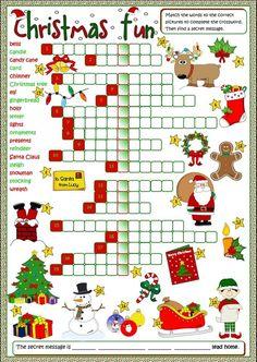 Christmas Worksheets for Kids Christmas Fun Crossword English Esl Worksheets for Christmas Party Games, Christmas Activities, Holiday Fun, Christmas Holidays, Christmas Crafts, Xmas, Christmas Puzzle, Merry Christmas, Holiday Decor