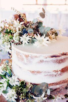 Bron + Tim   cake flowers naked cake native flowers flannel flowers