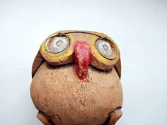 Vintage Coconut Owl with Glasses  1970s