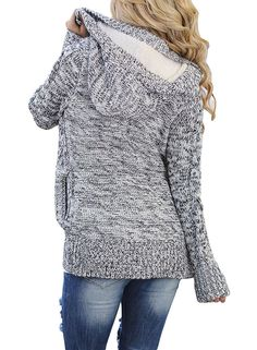 6efea659d FISACE Women s Loose Fit Long Sleeve Knitted Cardigan Sweaters Outerwear  with Pocket     Details can be found by c…