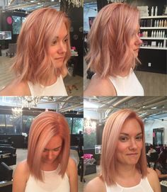 M Studios - San Diego, CA, United States. Rose gold hair! Started at almost black and ended up with a fun futuristic and original color!
