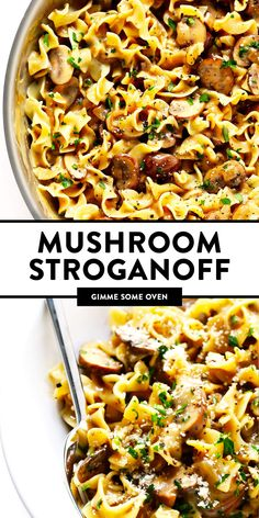 This vegetarian Mushroom Strogranoff recipe is easy to make in about 30 minutes, and it's always a crowd fave! Serve it for dinner over pasta (egg noodles), quinoa, grains or whatever sounds good. | gimmesomeoven.com #stroganoff #vegetarian #mushroom #dinner #pasta #noodles #healthy