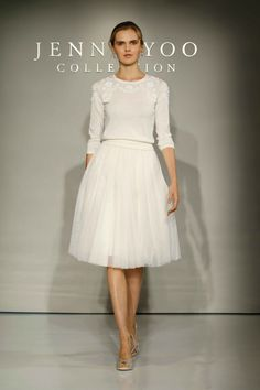 """""""Millie"""" Sweater & """"Lucy"""" Skirt Article: Mix and Match Delightful Separates by Jenny Yoo Bridal 2016 Photography: JJ Ignotz Photography Read More: http://www.insideweddings.com/news/fashion/mix-and-match-delightful-separates-by-jenny-yoo-bridal-2016/2542/"""