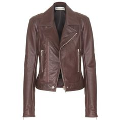 Balenciaga Leather Biker Jacket ($2,360) ❤ liked on Polyvore featuring outerwear, jackets, leather jacket, coats, leather, brown, genuine leather biker jacket, moto jacket, rider jacket and real leather jackets