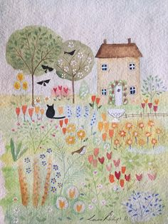 Louise Rawlings Watercolor Paintings, Watercolours, Contemporary Embroidery, Thread Painting, Small Paintings, All Art, Cute Art, Art Projects, Art Drawings