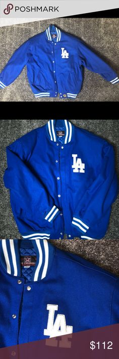 JH Design  LA Dodgers Lettermans Jacket 2XL 28 Armpit to Armpit  33 sleeve 32 Length  Perfect. Perfectly used LA Dodgers letterman's jacket with leather lettering on LA, Dodgers. White trim in excellent condition. Snaps all the way down. Inside has plush quilted monogram lining. The lining reads JH design. 2 inside pockets on left and right breast area. 2 hand pockets on outer part of jacket. jh design Jackets & Coats Bomber & Varsity