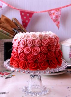 Rose velvet cake- if i don't have fondant roses perfected after making this- there is no hope