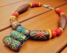 Large Tribal Choker African Glass Beads Ethnic Wood Necklace Semi-Precious Stones Krobo Statement Necklace Boho Jewelry Exotic Beaded Choker