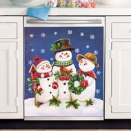 Snowman & Family Glow-In-The-Dark Christmas Kitchen Dishwasher Magnet Cover Dark Christmas, Christmas Home, Christmas Kitchen, Christmas Chair Covers, Serving Tray Decor, Snowman Christmas Decorations, Seasonal Decor, Holiday Decor, Dishwasher Magnet