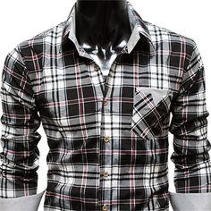 (CHS3-BLACK) Mens casual stripe patch checker shirts, $24.98