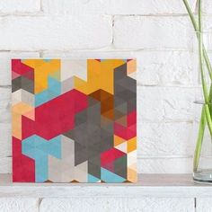 quadro decorativo retro color triangles