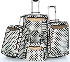 New Directions® 5-Piece Luggage Set - Ivory Vine   Ivory, Bag and ...