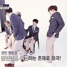 Kyungsoo pushing away sehun to let Kai sit on his knees ...omg them feels