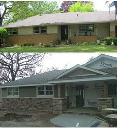 Rambler House Exterior Remodel Update - Home & DIY Br House, House With Porch, House Front, Home Renovation, Home Remodeling, Basement Renovations, Ranch Exterior, Exterior Remodel, Craftsman Remodel