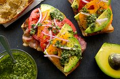 Fruit Pizza Crispy Prosciutto and Avocado Salad Toasts by thecozyapron Bruschetta with roasted pumpkin. I Love Food, Good Food, Yummy Food, Healthy Snacks, Healthy Eating, Healthy Recipes, Dip Recipes, Lunch Recipes, Salad Recipes