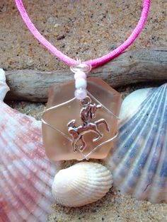 350 - Unicorn on light pink Seaglass