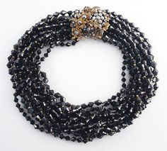 MIRIAM HASKELL 12 strand black faceted glass by greatbarbarian, $295.00