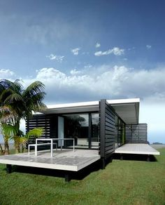 Bachkit modular house, New Zealand by Andre Hodgskin. New Zealand Architecture, Architecture Awards, Modern Architecture, 3d Studio, Tiny House Cabin, Granny Flat, Nautical Home, Modular Homes, Coastal Homes