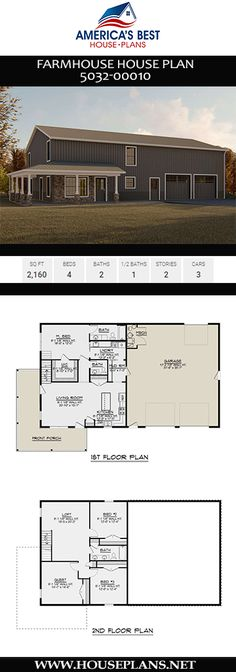 Plan 5032-00010 delivers a 2,160 sq. ft. Farmhouse design complete with 4 bedrooms, 2 bathrooms, a guest room, a loft, a mudroom, an open floor plan, and a 3 car garage.