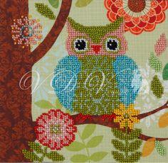 """Beading kit """"Owl"""" (VDV). #vdvkiev #embroiderykit #printonfabric #handmade #Preciosa #kitwithbeads #beads #beadingkit"""