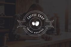 10 Coffee Shop Flat Line Logo by misterRyArt™ on @creativemarket