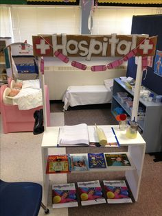 "Our dramatic play area ""hospital"" is a huge hit! The waiting area has some fun medical activity books for kids, and once the ""receptionist"" has admitted you, the doctors have all the latest equipment like band aids, gauze wraps, IV bag, ""needles"",  crutches, and so much more! The best is the ""lollipop"" at the end of your visit!!"