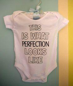 465951b5 Details about SLOGAN unisex bodysuit/vest babygrow PERFECTION new baby gift  baby shower gift