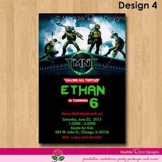 Teenage Mutant Ninja Turtles Invitation, Printable TMNT Birthday Party You-Print Custom Personalized Digital Photo Card 4x6 or 5x7 via Etsy