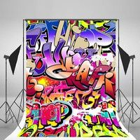 Wish | 5x7ft Graffiti Wall Photography Backdrop Colorful Letters for Children Birthday Party Background