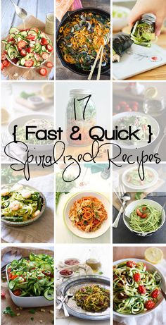 17 fresh & quick spiralized recipes that are perfect for warmer days! Healthy, quick and fresh dinners that are full of nutrition. Zoodle Recipes, Spiralizer Recipes, Vegetable Recipes, Vegetable Spiralizer, Pasta Recipes, Spiral Slicer Recipes, Veggie Noodles, Zucchini Noodles, Zucchini Chips