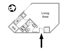 Paris Studio T1 logement location appartement - plan schématique  (PA-4211)