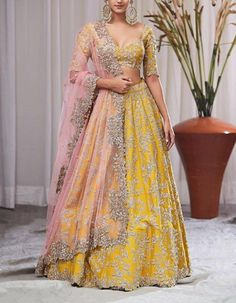 Check out our Mustard Yellow Zardosi Embroidered Lehenga Set by ANUSHREE REDDY available at Ogaan Online store at special price. Anushree Reddy's elaborate festive pieces with intricate zardosi and gota details in raw silks are a bridal favourite at Ogaan Indian Wedding Lehenga, Wedding Lehenga Designs, Designer Bridal Lehenga, Wedding Mandap, Indian Lehenga, Punjabi Wedding, Wedding Stage, Wedding Updo, Wedding Receptions