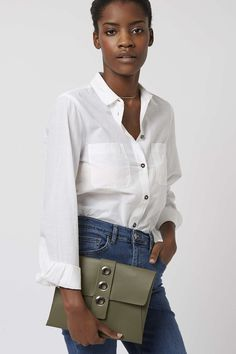 Leather Eyelet Clutch