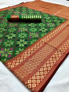 Style Array Present Beautiful Multi Color Pure Silk With Weaving Branded Saree . Buy This Attractive Look Beautiful Multi Color Pure Silk With Weaving Branded Saree Silk Saree Kanchipuram, Silk Lehenga, Art Silk Sarees, Kanjivaram Sarees, Traditional Sarees, Traditional Outfits, Wedding Sari, Ethnic Wedding, Green Saree