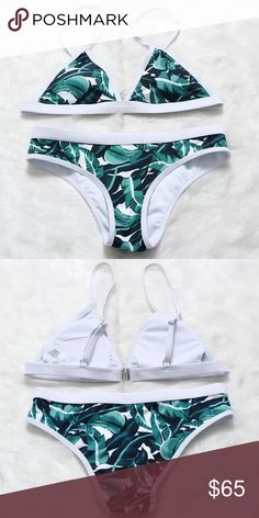 """Bikini Set 2 piece bikini set .... Cute ocean green/blue and white bikini with a tree/flower pattern ...... BRAND NEW !!!!!             FIRM ON PRICE          NO TRADES  Material: polyester and spandex   Size L - Bust: 36-39""""               Waist: 26-28""""                Hip: 38-40""""    NOT FROM LISTED BRAND PINK Victoria's Secret Swim Bikinis"""