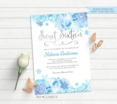 sweet 16 invitation, sweet sixteen invitations, winter sweet sixteen invitations, winter sweet 16th birthday invite, snowflake, watercolor by TinyConfetti
