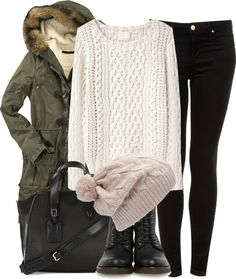 Army jacket, cream cable knit jumper, black skinny jeans, cream beanie, combat boots and a leather satchel.