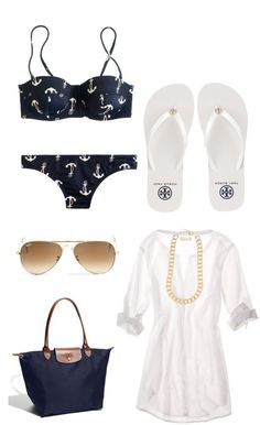 navy/white anchor bikini, white cover up, white flip flops, navy longchamp bag, sunglasses, gold necklace