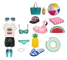 """""""Beach day with friends/ family!"""" by abbieturner on Polyvore featuring Milly, Tkees, Ray-Ban, Sun Bum, Flora Bella, Sunnylife, Vans and Karen Kane"""