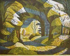 'Woodland Path' by Norman C Jaques, c 1954 (colour linocut)