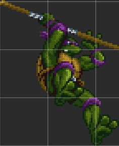 Donatello TMNT Perler Sprite Pattern Template by D1A13LO on DeviantArt