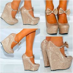 Womens glitter bow wedges gold