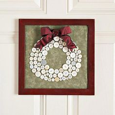 Cute-as-a-Button Wreath  Gather white buttons from your stash and sew them onto fabric to make a wreath that's suitable for framing.